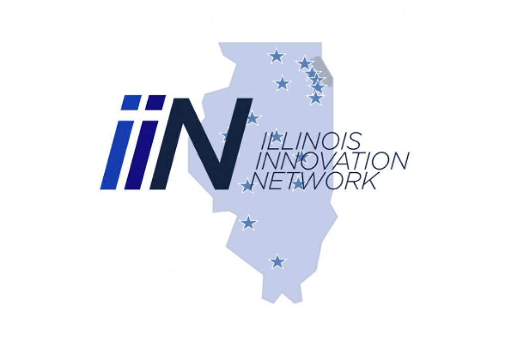 IIN logo with hubs marked as stars on state of illinois
