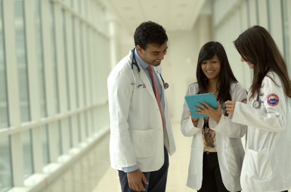 health sciences students having a discussion